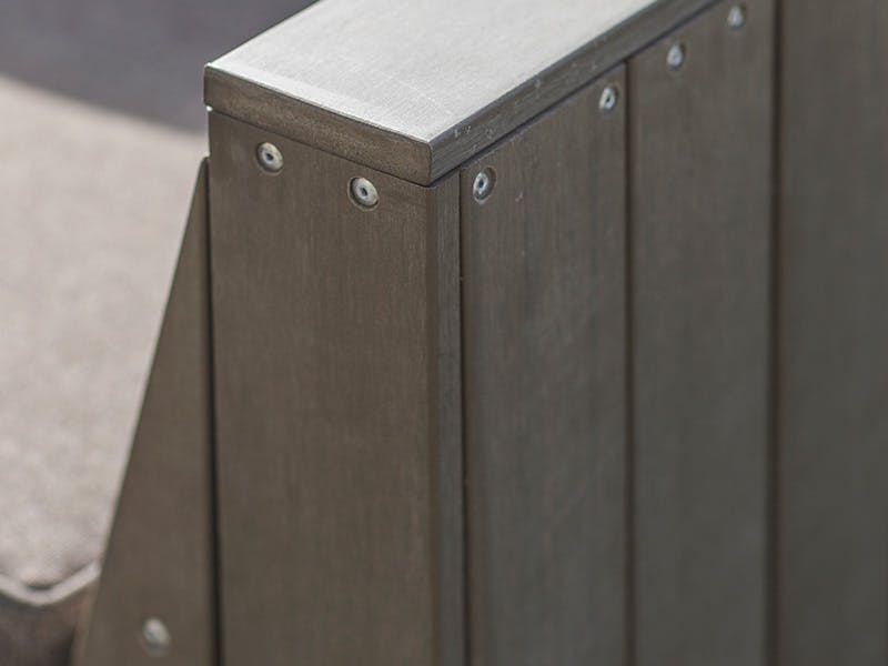 Close up of polywood outdoor sofa arm