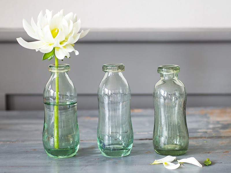 3 glass bottles lined up on a table with a single white flower in the first bottle