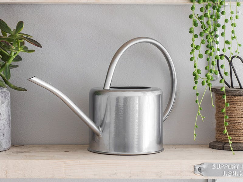 Silver indoor watering can on shelf next to twine and plant pot