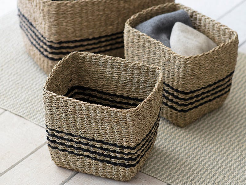 Set of 3 Striped Seagrass Baskets