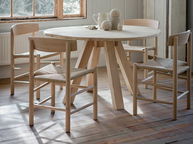 Raw Oak Dining Table with Longworth Chairs
