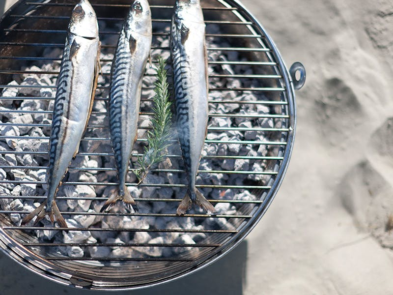 Rock BBQ on a sandy beach grilling 3 silver fish