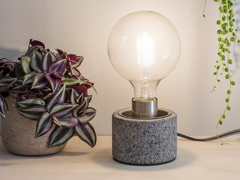 Portland Table Lamp next to plant in plant pot