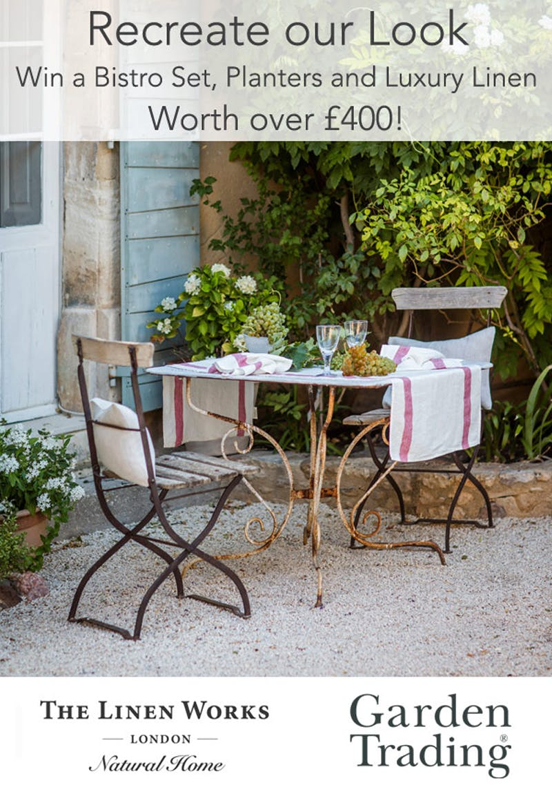 Bistro set, planters and luxury linen