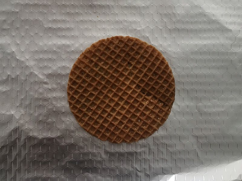 Stroopwaffle on foil for s'mores base