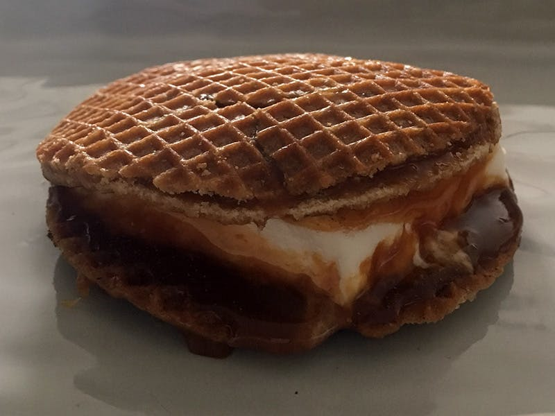 Deliciously gooey salted caramel and cinnamon s'more ready to eat