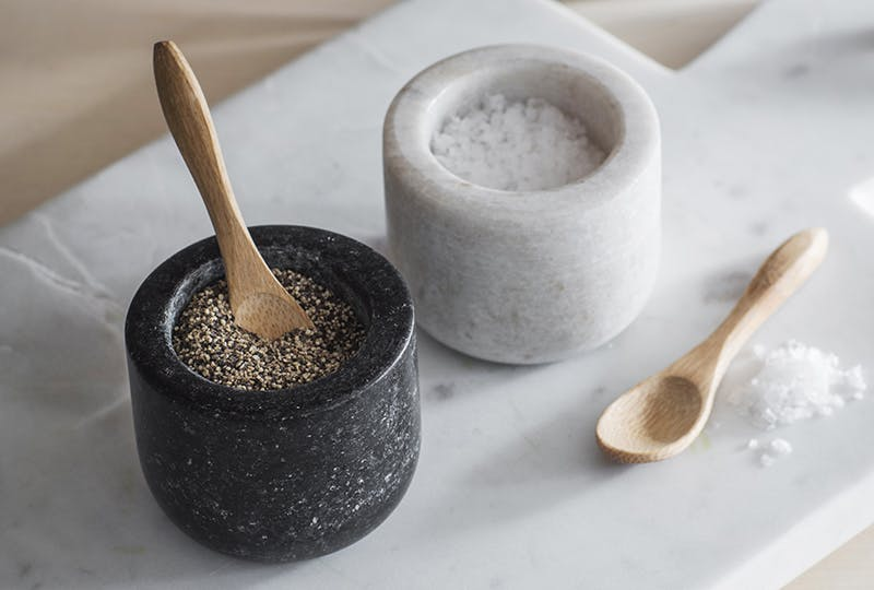 Salt and Pepper pinch pots with miniature bamboo spoons