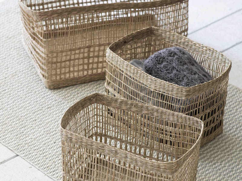 Set of 3 Mixed Weave Storage Baskets