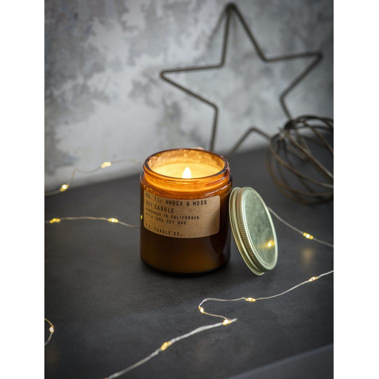 Amber and Moss Glass Candle in Small or Large | Garden Trading