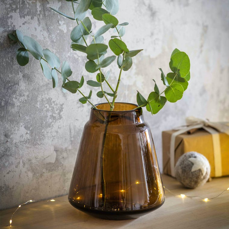 Amber Glass Stanway Vase in Small or Large | Garden Trading