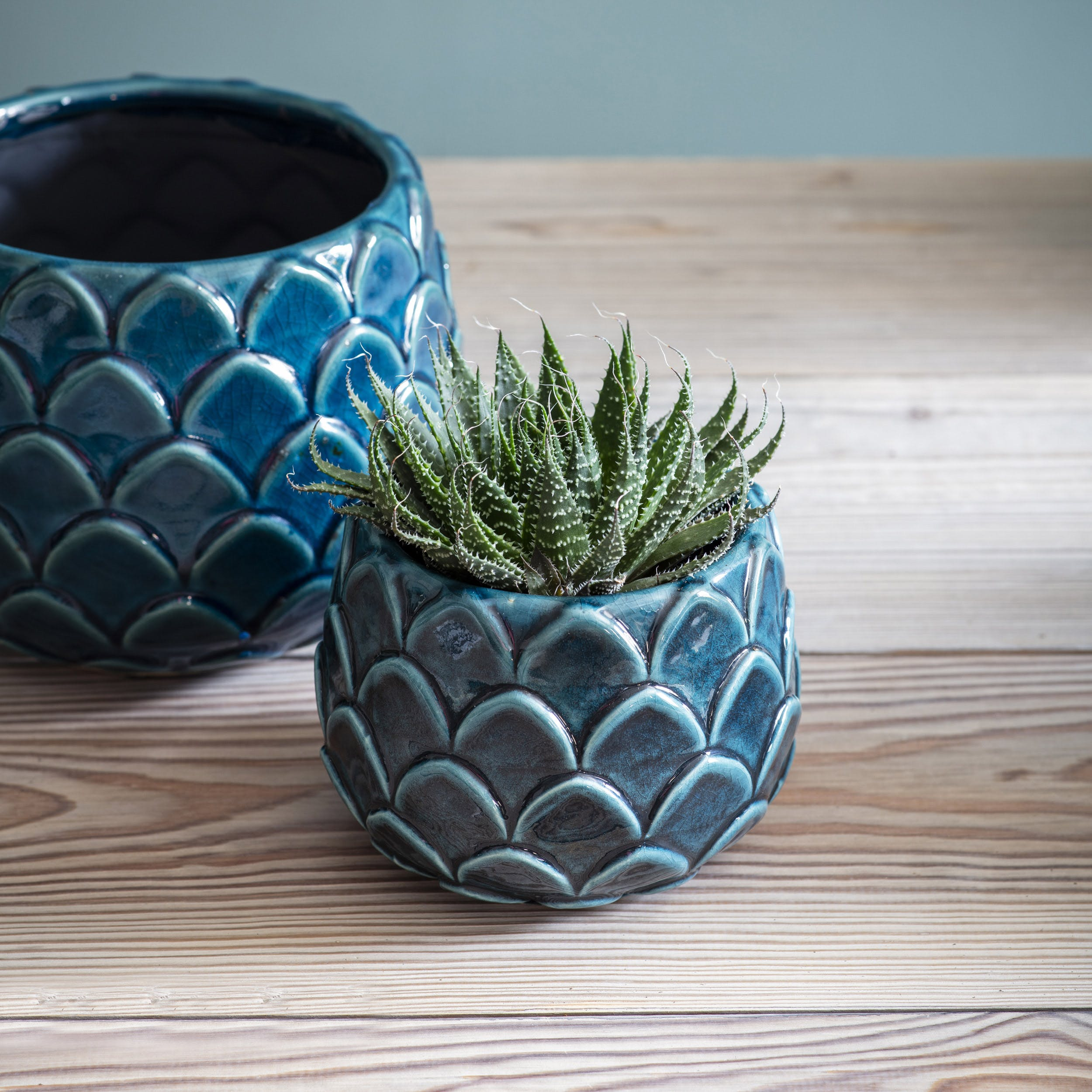 Ceramic Artichoke Plant Pot In Teal In Small Or Large