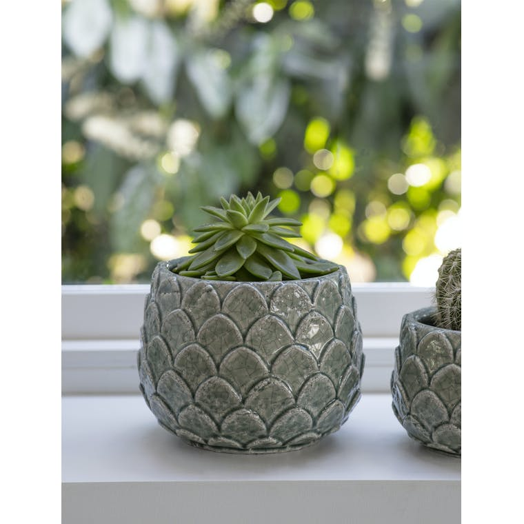 Ceramic Artichoke Pot in Green  in Small or Large | Garden Trading