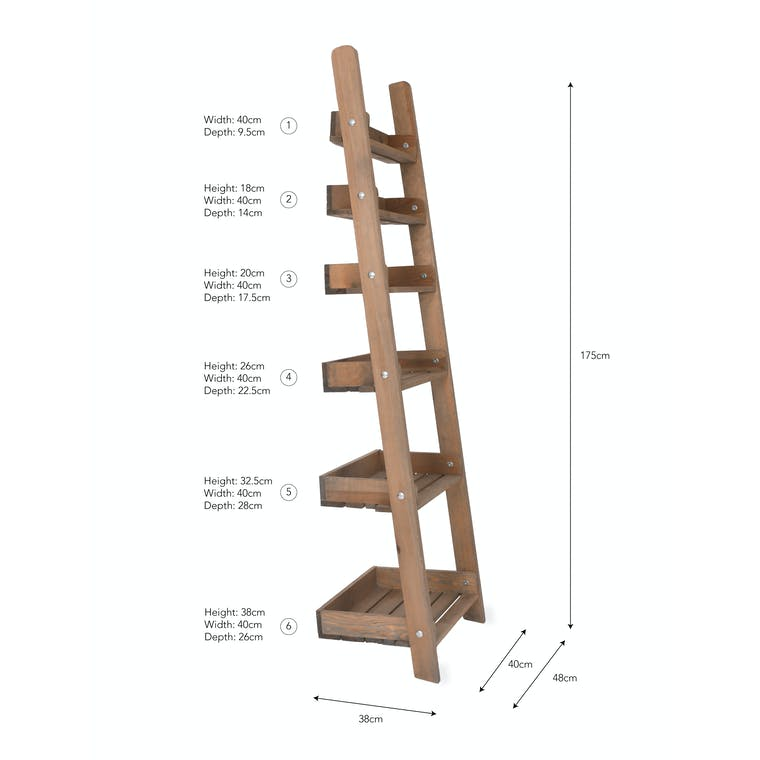Wooden Aldsworth Shelf Ladder in Small or Large | Garden Trading