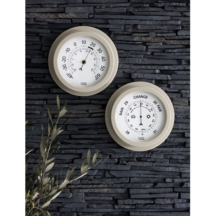 Tenby Outdoor Barometer, 8 Inch in Cream | Garden Trading
