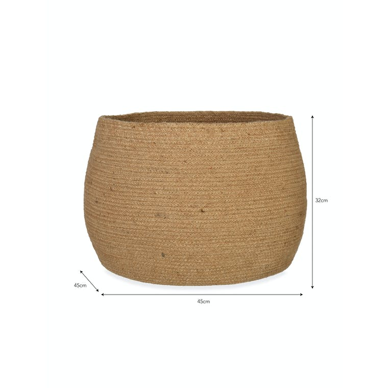 Jute Rounded Basket in Medium or Large | Garden Trading