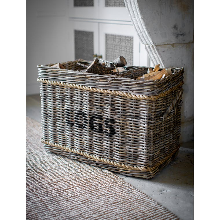 Garden Trading Log Basket with rope