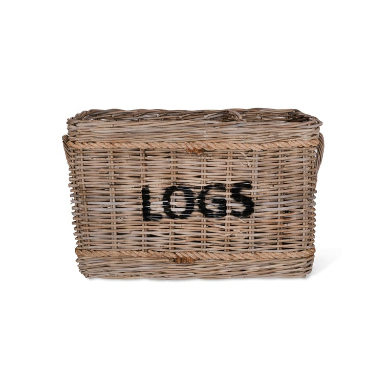 Rattan Rectangular Log Basket with Rope  | Garden Trading