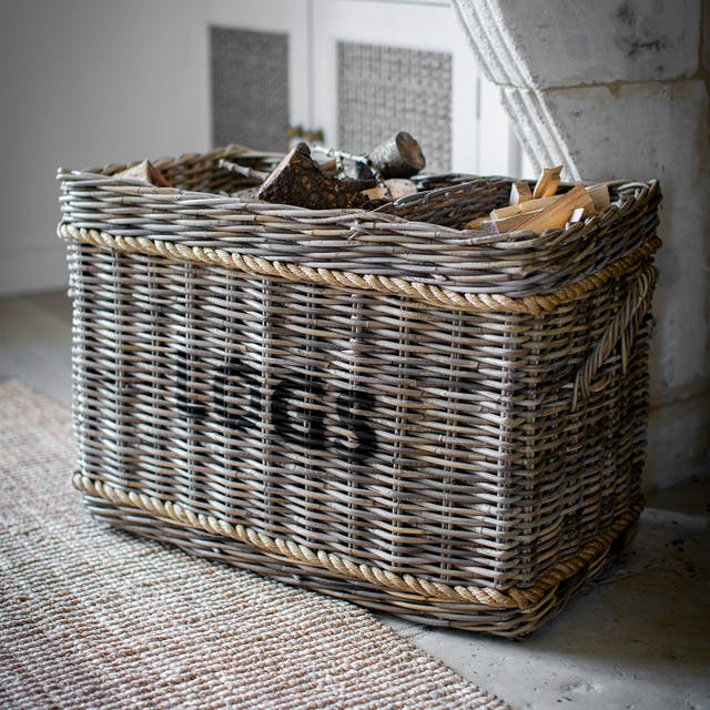 Log Basket with Rope