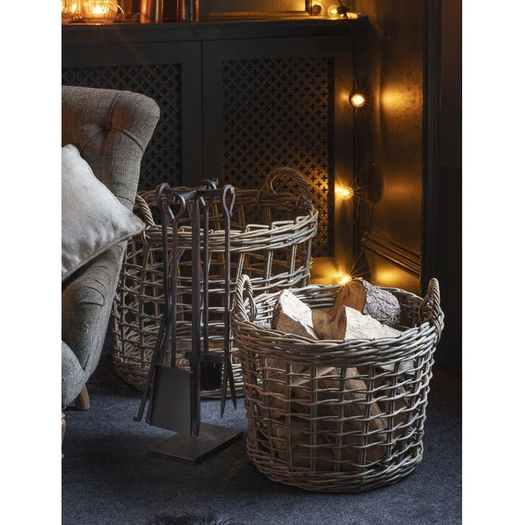 Rattan Open Weave Basket in Small or Large   Garden Trading