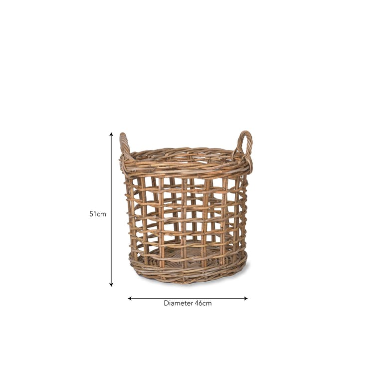 Rattan Open Weave Basket in Small or Large | Garden Trading