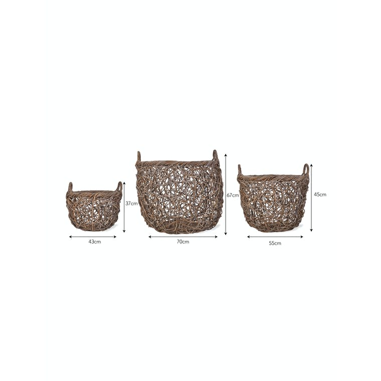 Rattan Tangled Weave Basket in Small, Medium or Large | Garden Trading