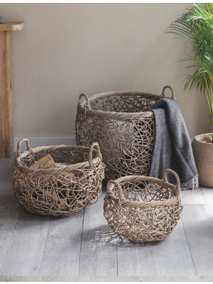 Set of 3 Tangled Weave Baskets