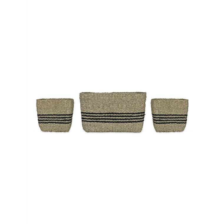 Seagrass Set of 3 Striped Storage Baskets | Garden Trading