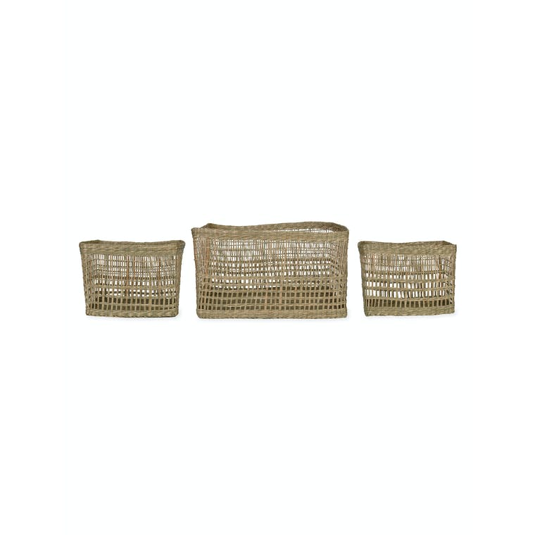 Seagrass Set of 3 Mixed Weave Storage Baskets | Garden Trading
