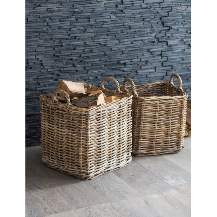 Rattan Square Basket in Small or Large | Garden Trading