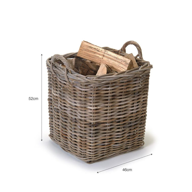 Rattan Square Basket in Small or Large   Garden Trading