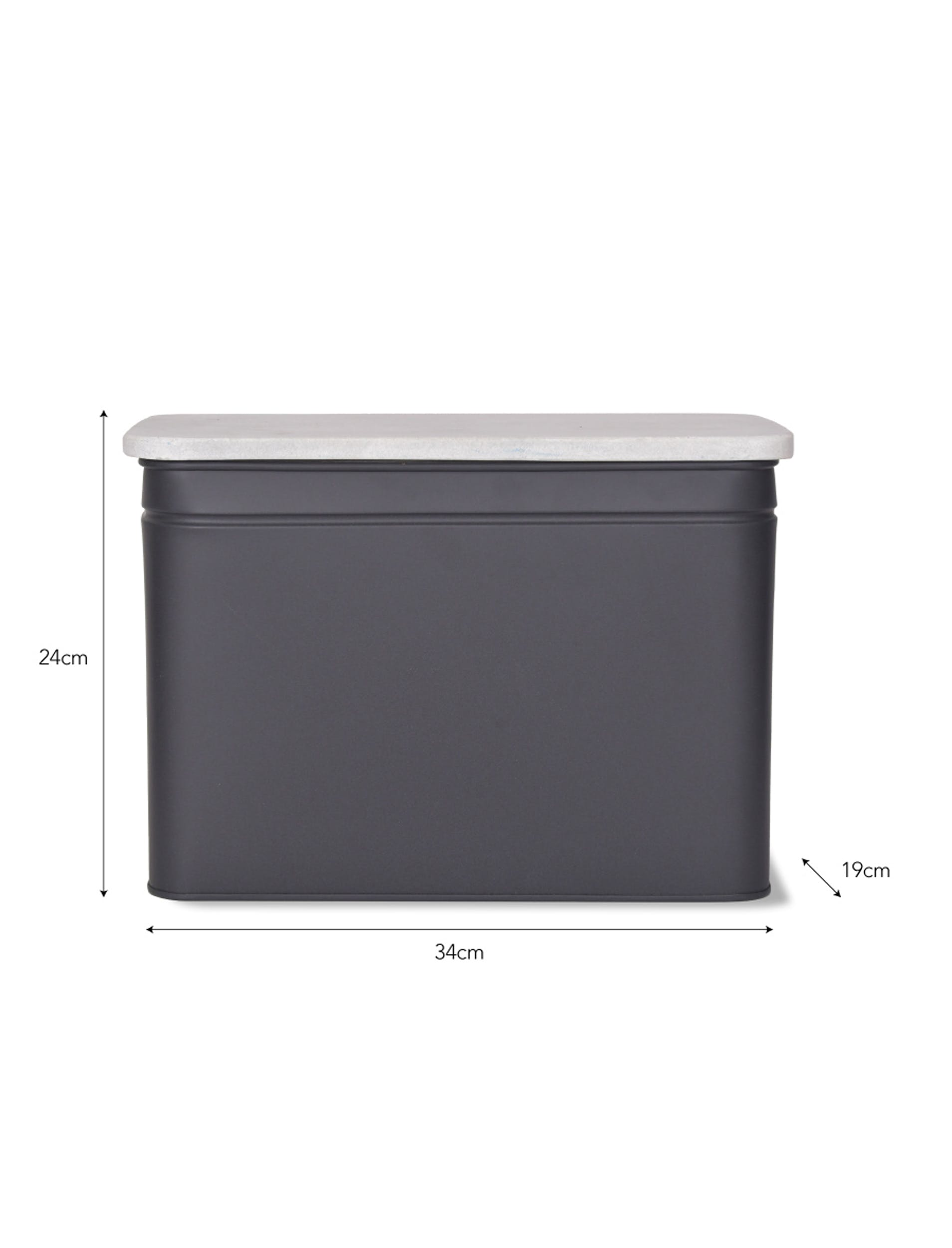 Marble and Steel Brompton Bread Bin in Black or White | Garden Trading