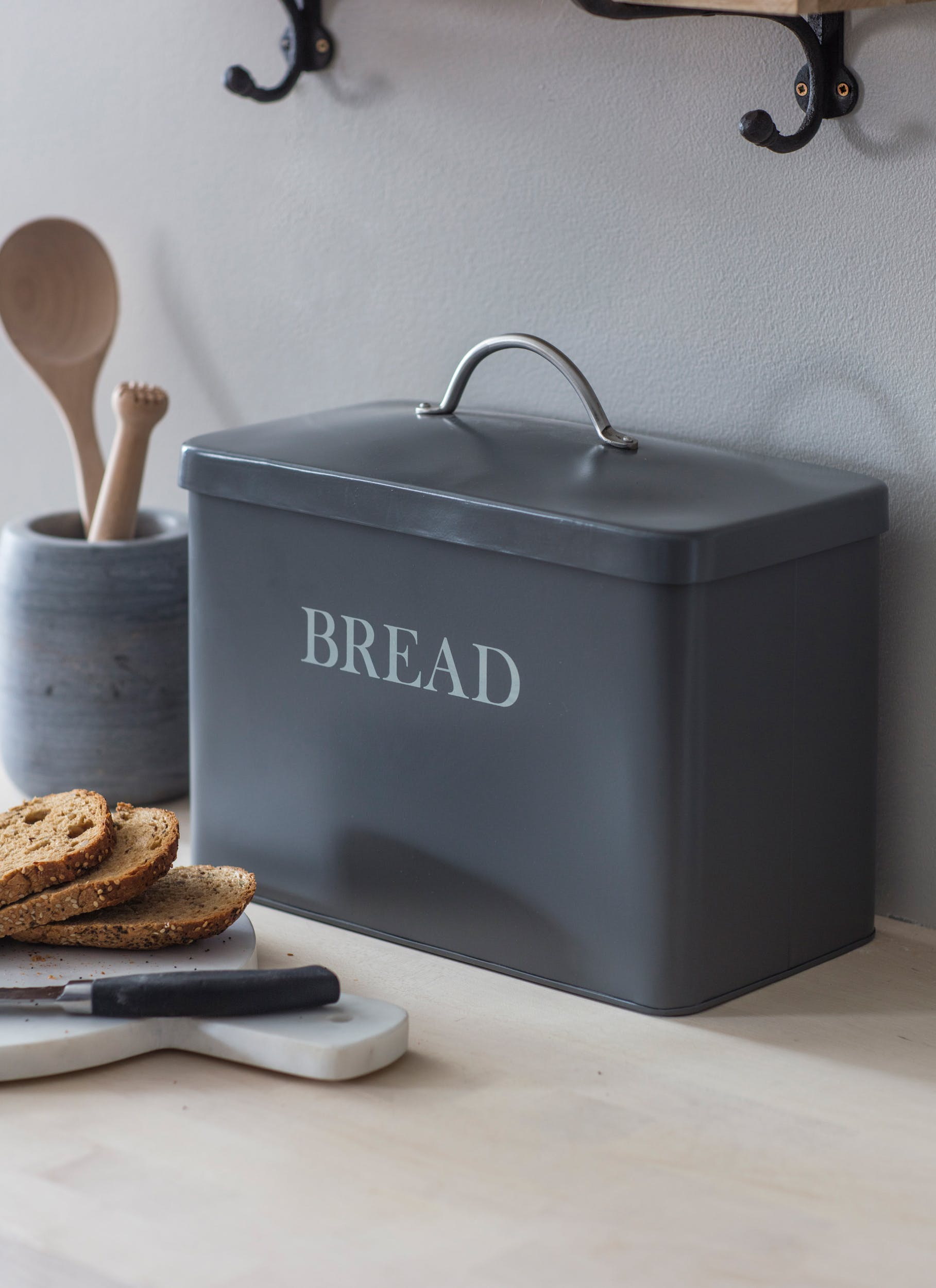 Steel Bread Bin in White, Cream, or Grey | Garden Trading