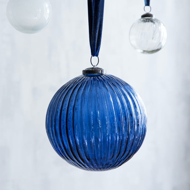 Large Glass Bauble in Blue, Clear or Smoke - 18cm - Murrine | Garden Trading