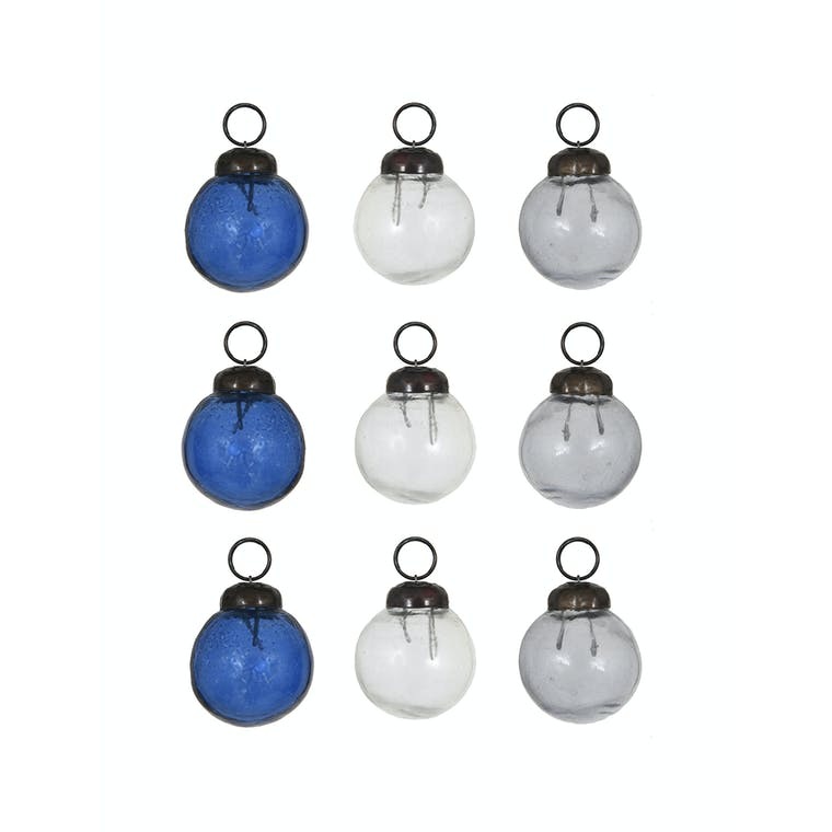 Glass Bauble Set Amber, White or Ink - Set of 9 - Hailes   Garden Trading