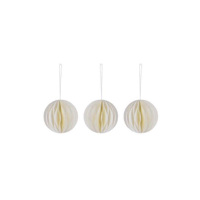Paper Set of 3 Maddox Baubles in Red, Blue or White | Garden Trading