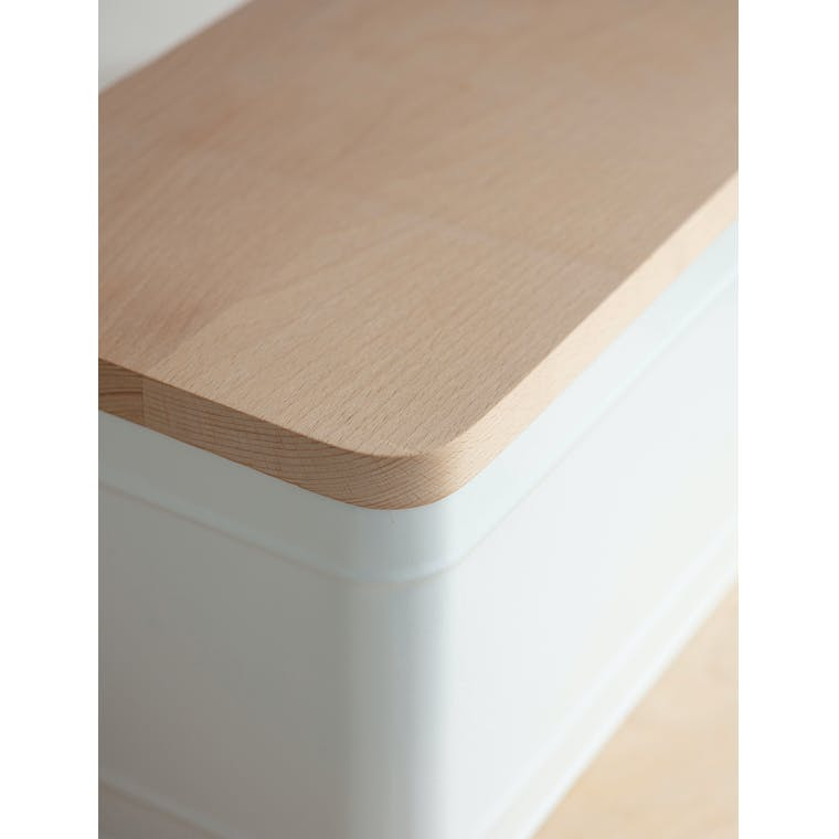 Steel & Wooden Borough Bread Bin in White or Grey | Garden Trading
