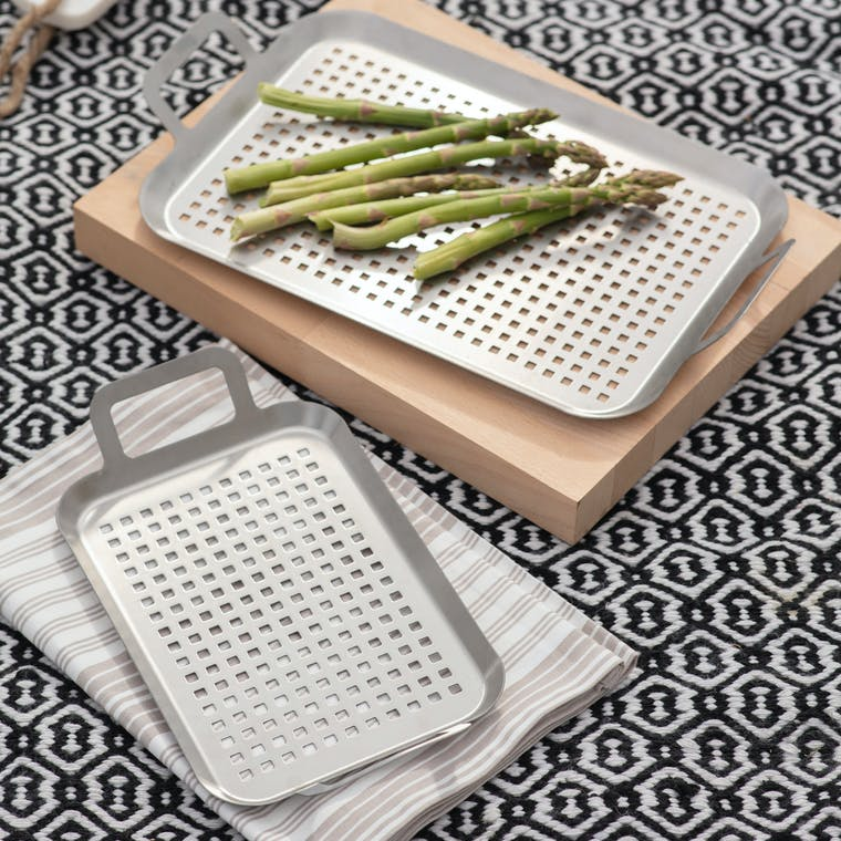 Stainless Steel Set of 2 BBQ Trays | Garden Trading