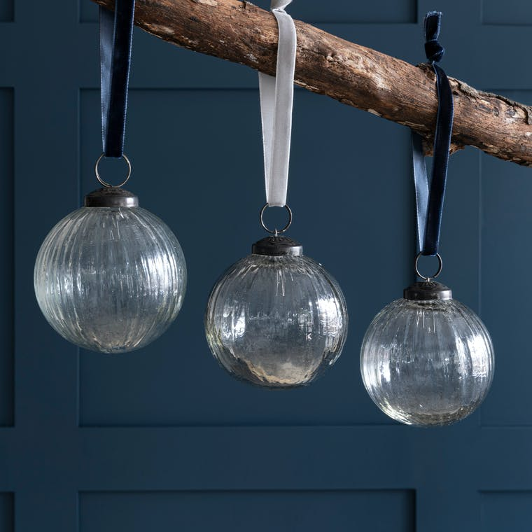 Glass Bauble Set in Blue, Clear or Smoke - Set of 3 - Hailes   Garden Trading