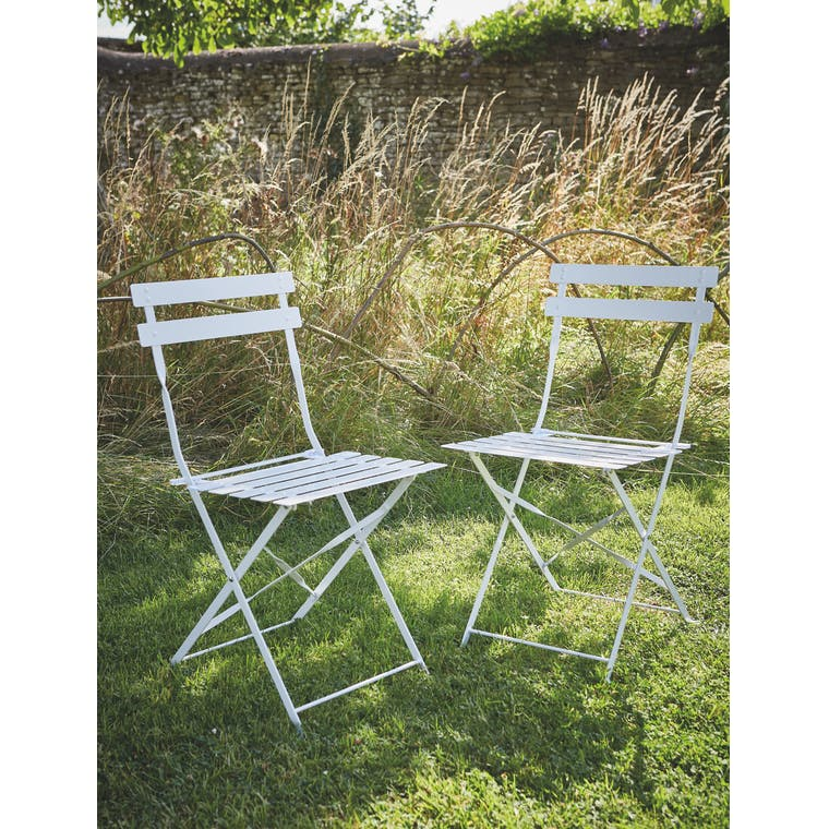 Garden Trading Set of 2 Bistro Chairs in Chalk - Steel