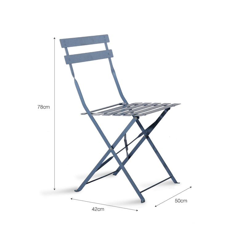 Set of 2 Bistro Chairs in Cream, Green, Blue, Black or Yellow | Garden Trading
