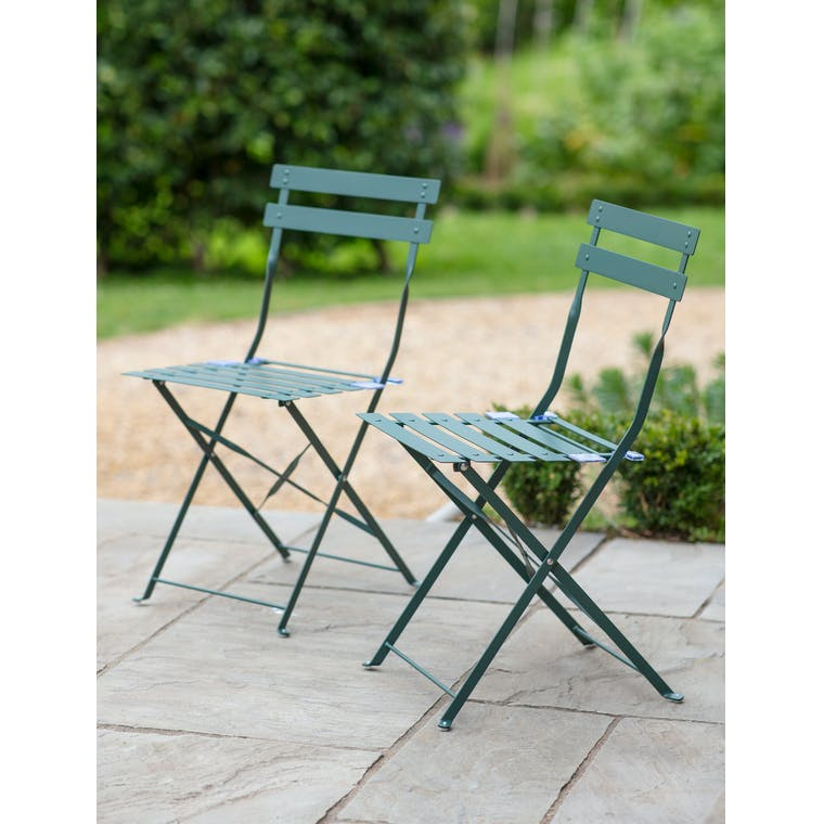 Pair of Bistro Chairs in Forest Green by Garden Trading