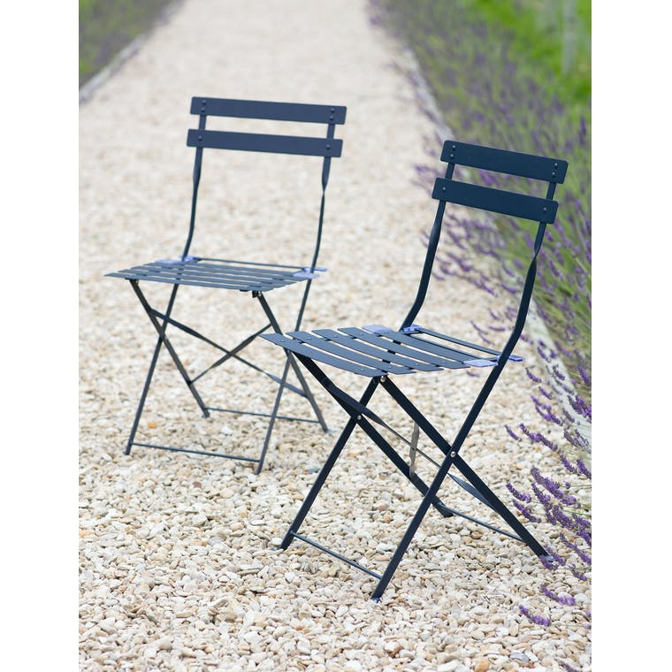 Pair of Bistro Chairs in Ink by Garden Trading