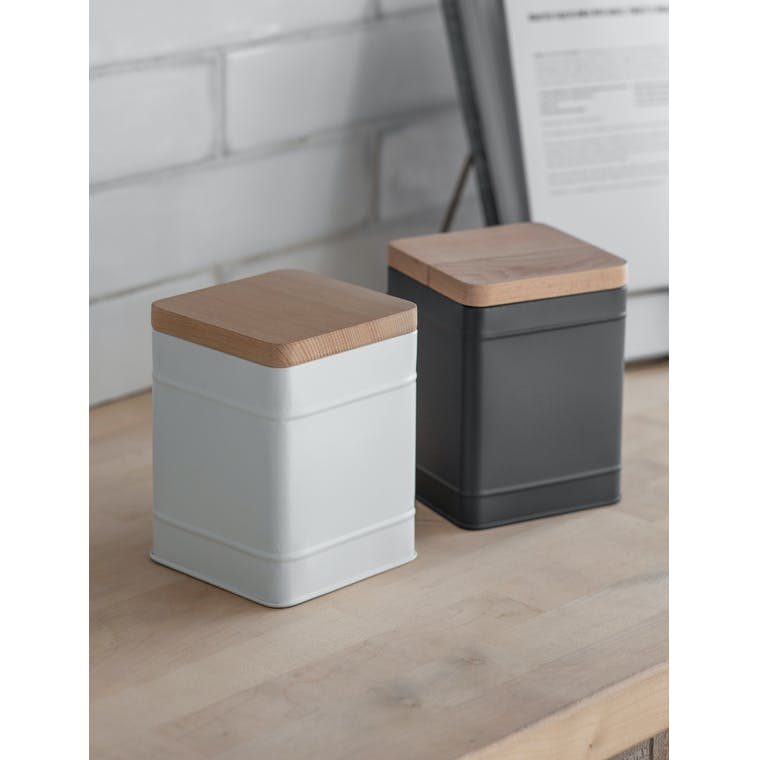 Steel Borough Canister Small in White or Grey   Garden Trading
