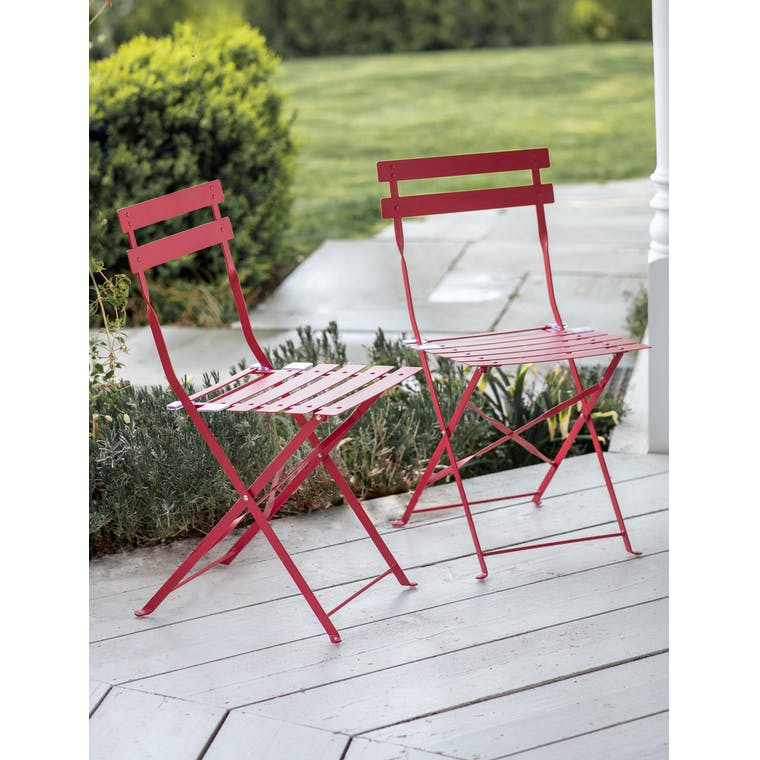 Pair of Bistro Chairs in Pomegranate by Garden Trading