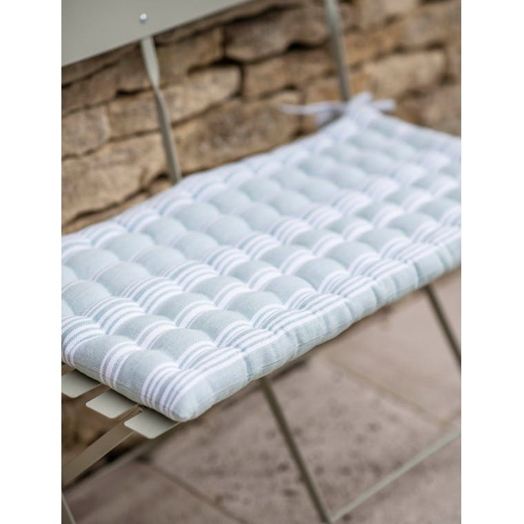 Cotton Bistro Bench Cushion in Green Stripe | Garden Trading