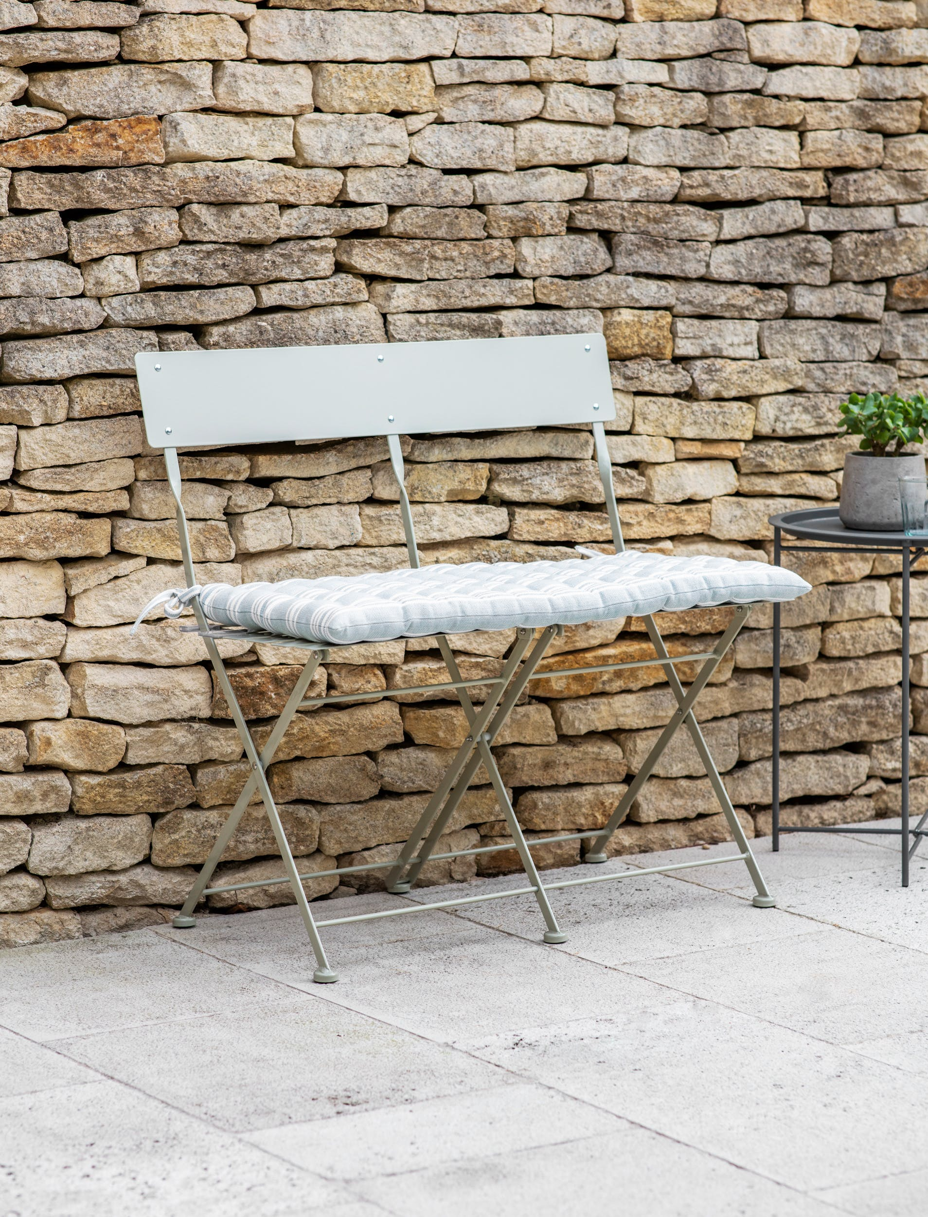Folding Outdoor Bistro Bench in Cream | Garden Trading