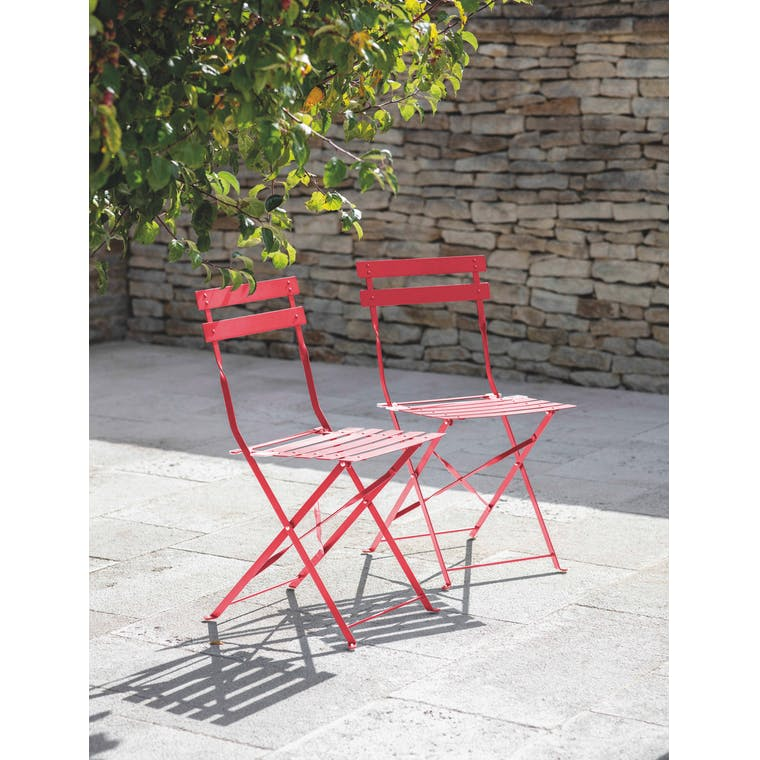 Garden Trading Pair of Bistro Chairs in Watermelon - Steel