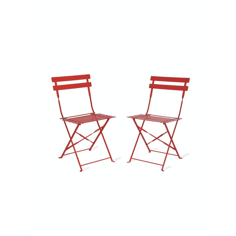 Steel Set of 2 Bistro Chairs in Green, Yellow & Red | Garden Trading