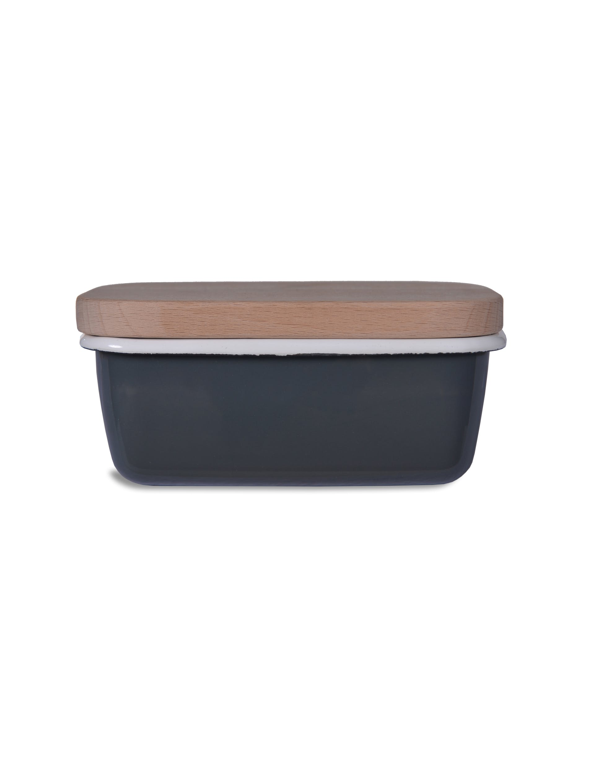 Enamel and Wood Butter Dish in Grey | Garden Trading