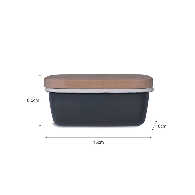 Enamel Butter Dish with Wooden Lid in Grey or White | Garden Trading